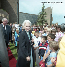 Madame Jeanne Sauvé greeting children
