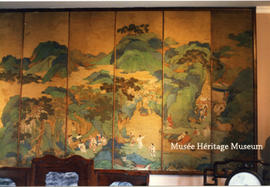 Interior of Chateau du Couloume - Chinese screen, right side