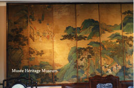 Interior of Chateau du Couloume - Chinese screen, left side