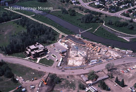 Aerial view of St. Albert Place under construction, Jul 1982
