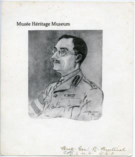 Drawing of Brutinel in military uniform