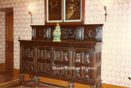 Interior of Chateau du Couloume - Wooden sideboard