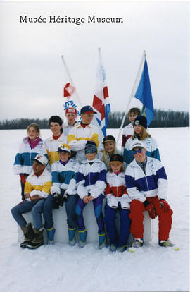 Biathlon or cross-country skiing group photograph